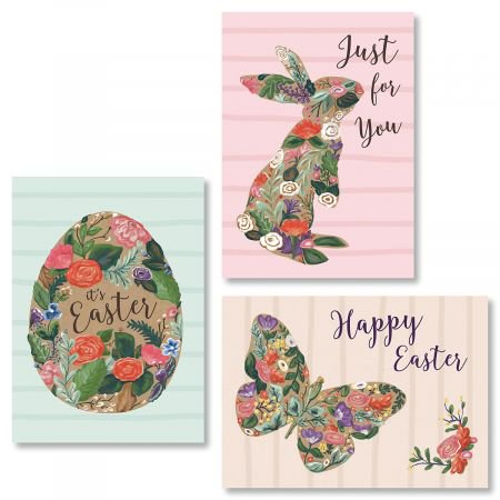"Tiny Blooms Easter Greeting Cards - Set of 6 (3 designs), Large 5"" x 7"", Easter Cards with Sentiments Inside, White Envelopes"