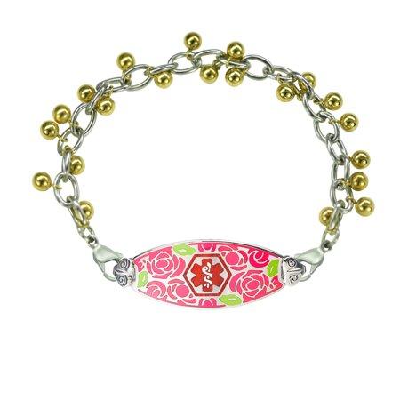 - Divoti Deep Custom Laser Engraved Gorgeous Red Rose Medical Alert Bracelet -Sphere Chain