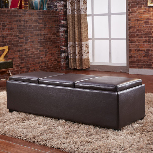 NOYA USA Contemporary Three Seat Bench with Storage