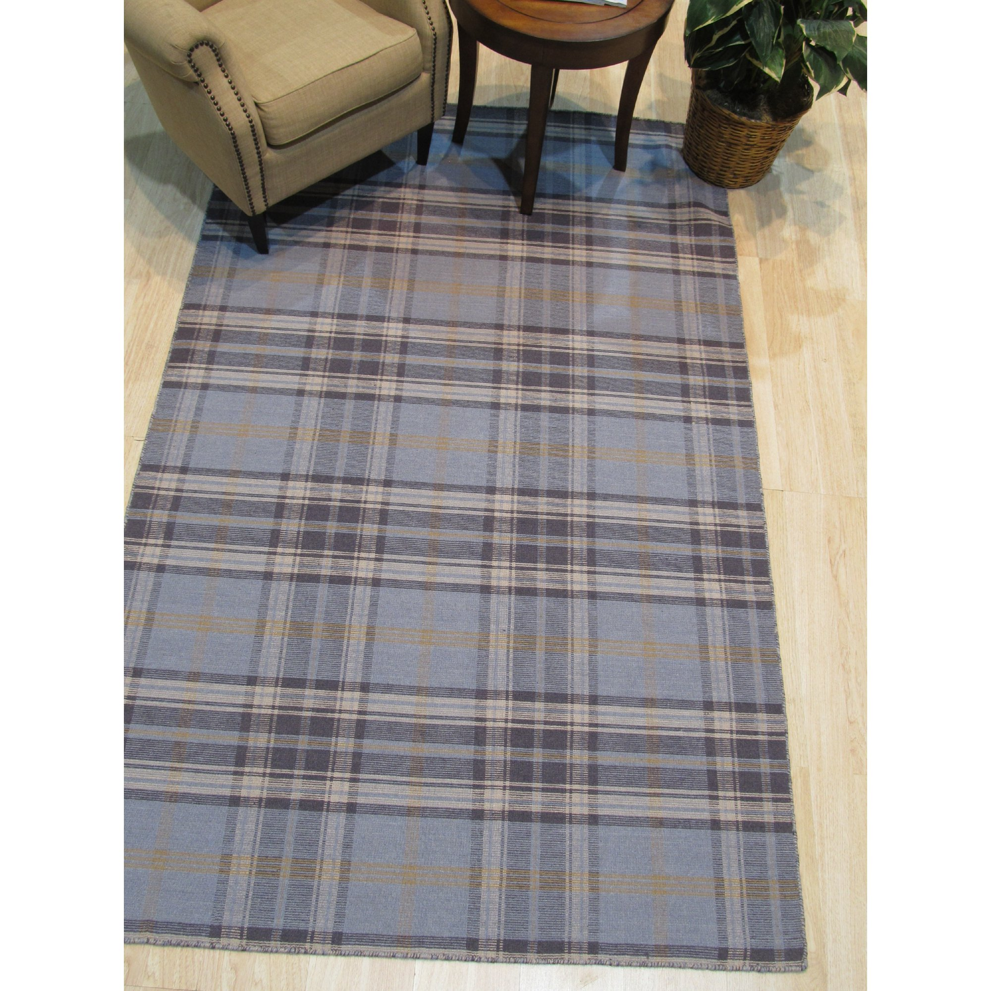 Blue Navy Plaid Handmade Wool Rug Walmart Canada