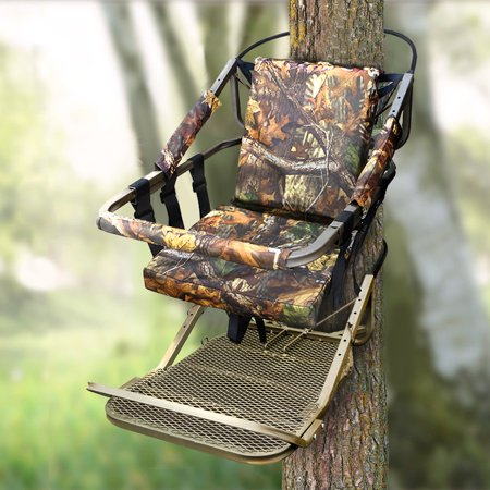 XtremepowerUS Portable Hunting Tree Stand Climber Deer Bow Game Hunt w/ Step-On Platform (Guide Gear Extreme Deluxe Hunting Climber Tree Stand)