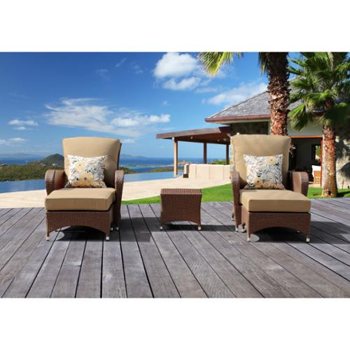 Corvus Miranda 5-piece Sorrel Finished Resin Wicker Outdoor Furniture Set