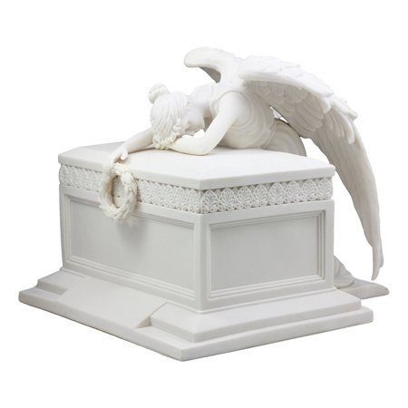 Angels Vases - Ebros Inspirational Angel Of Bereavement Holding Wreath Cremation Urn Statue 11.5