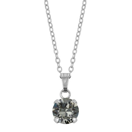 - X & O Rhodium Plated 8mm Prong Set Black Diamond Swarovski Pendant Necklace