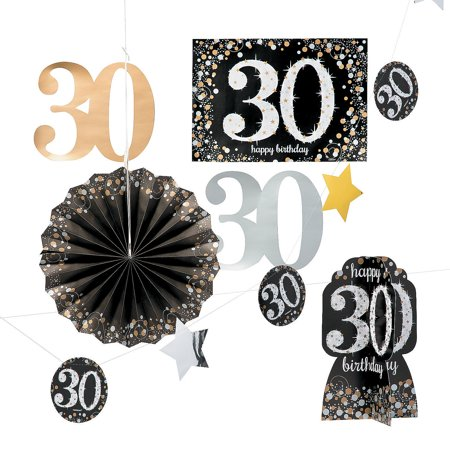 30th Birthday Decor (30th Sparkling Celebration Decor Kit for Birthday - Party Supplies - Licensed Tableware - Misc Licensed Tableware - Birthday - 10)