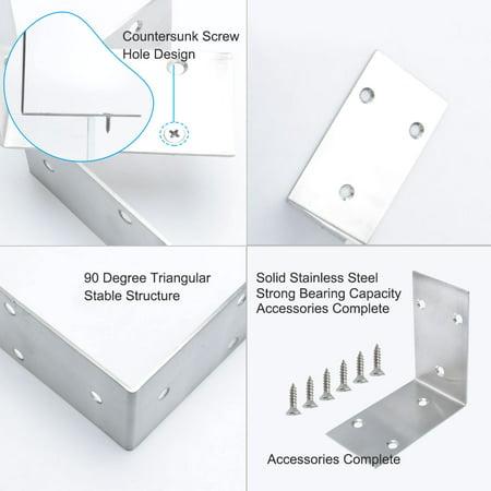 Angle Bracket Stainless Steel Brace Connection Fastener w Screw 85x85mm, 4pcs - image 6 de 7
