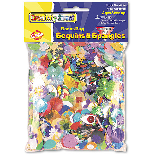 Creativity Street Sequins and Spangles, Assorted Metallic Colors, 4 oz/Pack