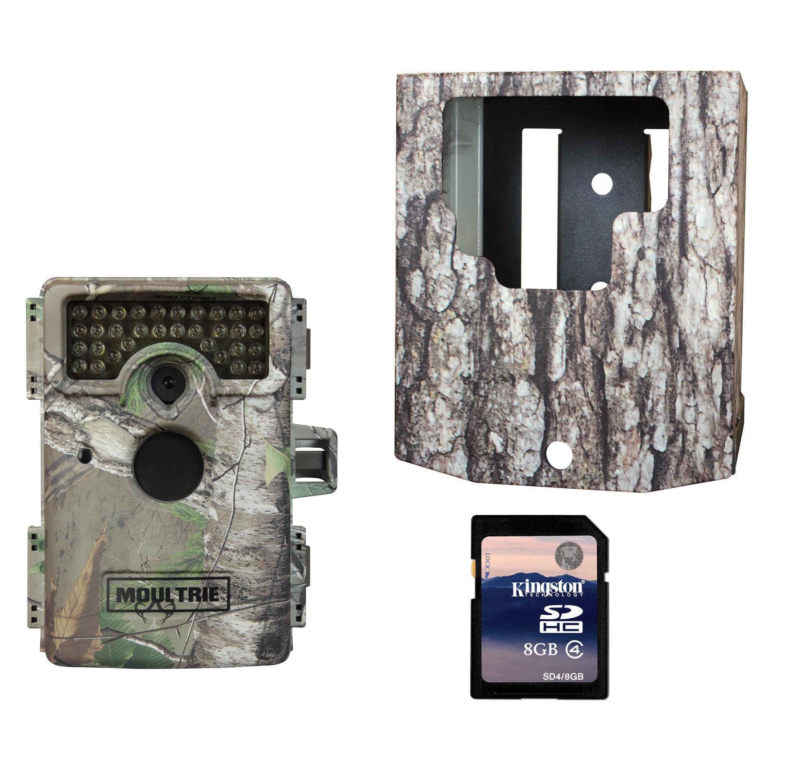 Moultrie M-1100i No Glow Infrared Trail Game Camera + Security Box & SD Card