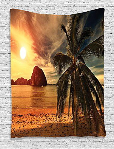 40 W x 60 L Inches Ambesonne Ocean Decor Tapestry Bedroom Living Room Dorm Decor Havana Beach Sunny Tropics Mountains and Rocks