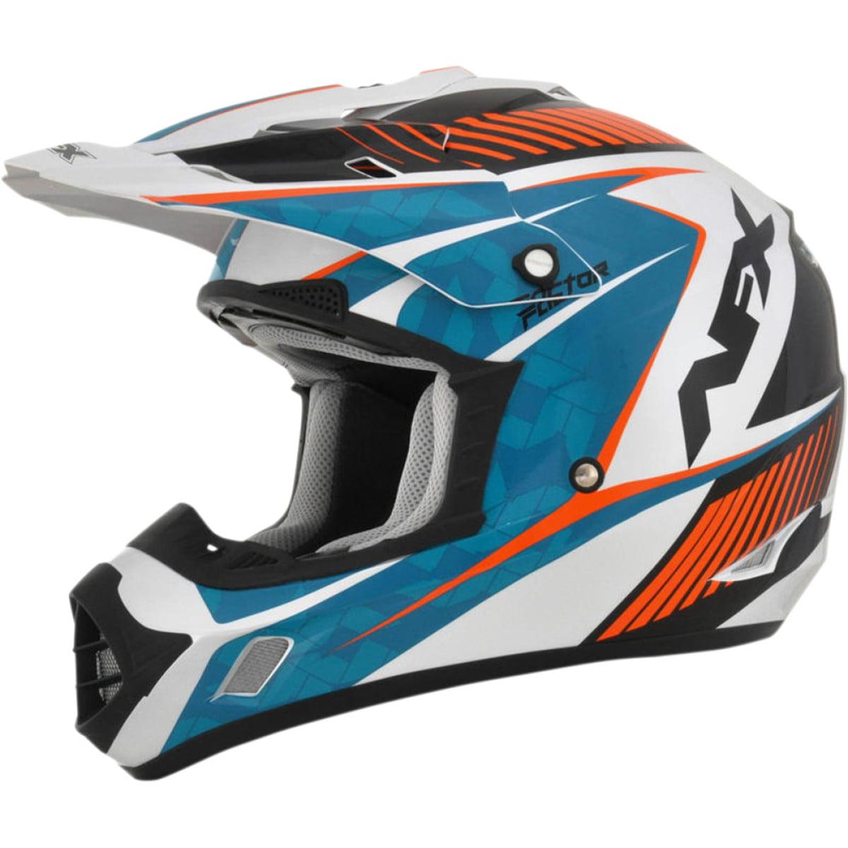 AFX FX-17 Offroad Helmet (Factor Blue/Orange/White Clear Coat, 2X-Large)