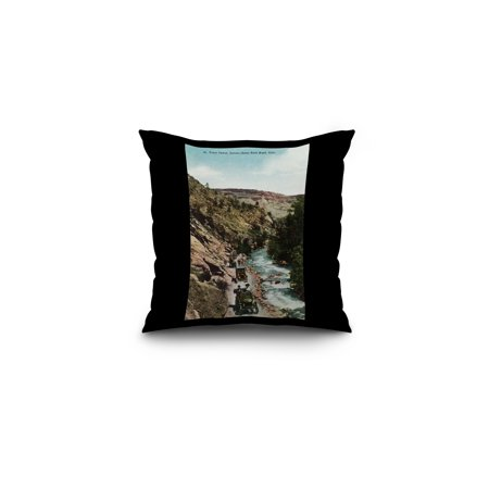 Lyons, Colorado - View of Model Ts on Estes Park Road in the St. Vrain Canyon (16x16 Spun Polyester Pillow, Black