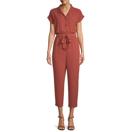 Juniors' Flange Button Front Tie Waist Jumpsuit by No Boundaries