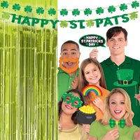 Party City St. Patrick's Day Photo Booth Supplies, Include Green Foil Fringe Curtains, Selfie Props, and 2 Banners