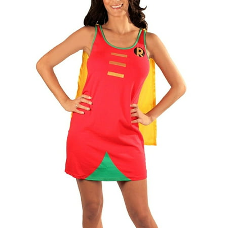 Batman Robin Foil Juniors Costume Sleep Tank Dress with Cape](Batman And Robin Girls)