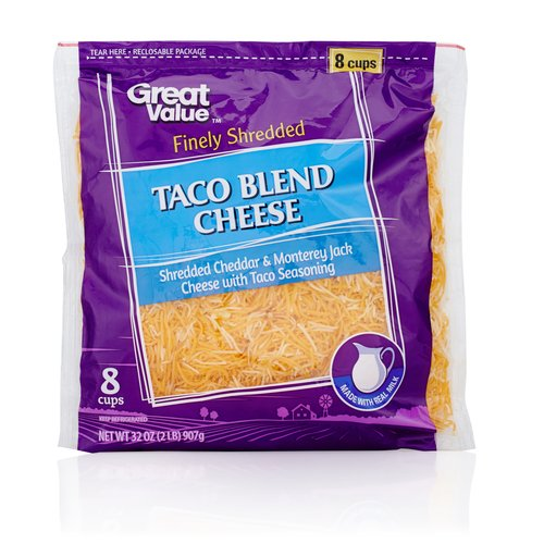 Great Value Finely Shredded Taco Blend Cheese, 32 oz