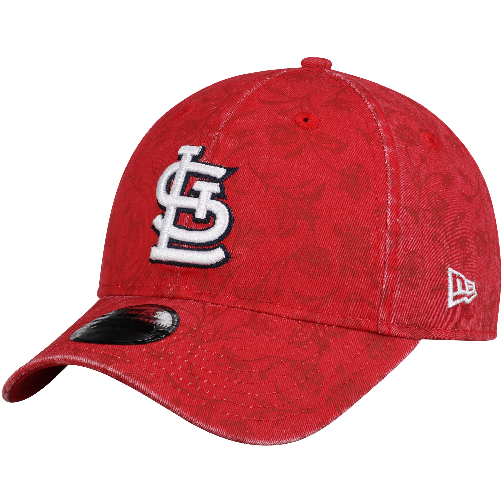 St. Louis Cardinals New Era Girls Youth Floral Peek 9TWENTY Adjustable Hat - Red - OSFA