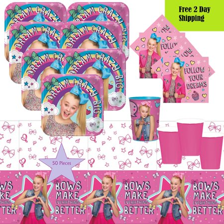Bowling Birthday Party Supplies (JoJo Siwa Birthday Party Tableware Kit For 16 - 50 pc w/ Table Cover Plates Napkins)