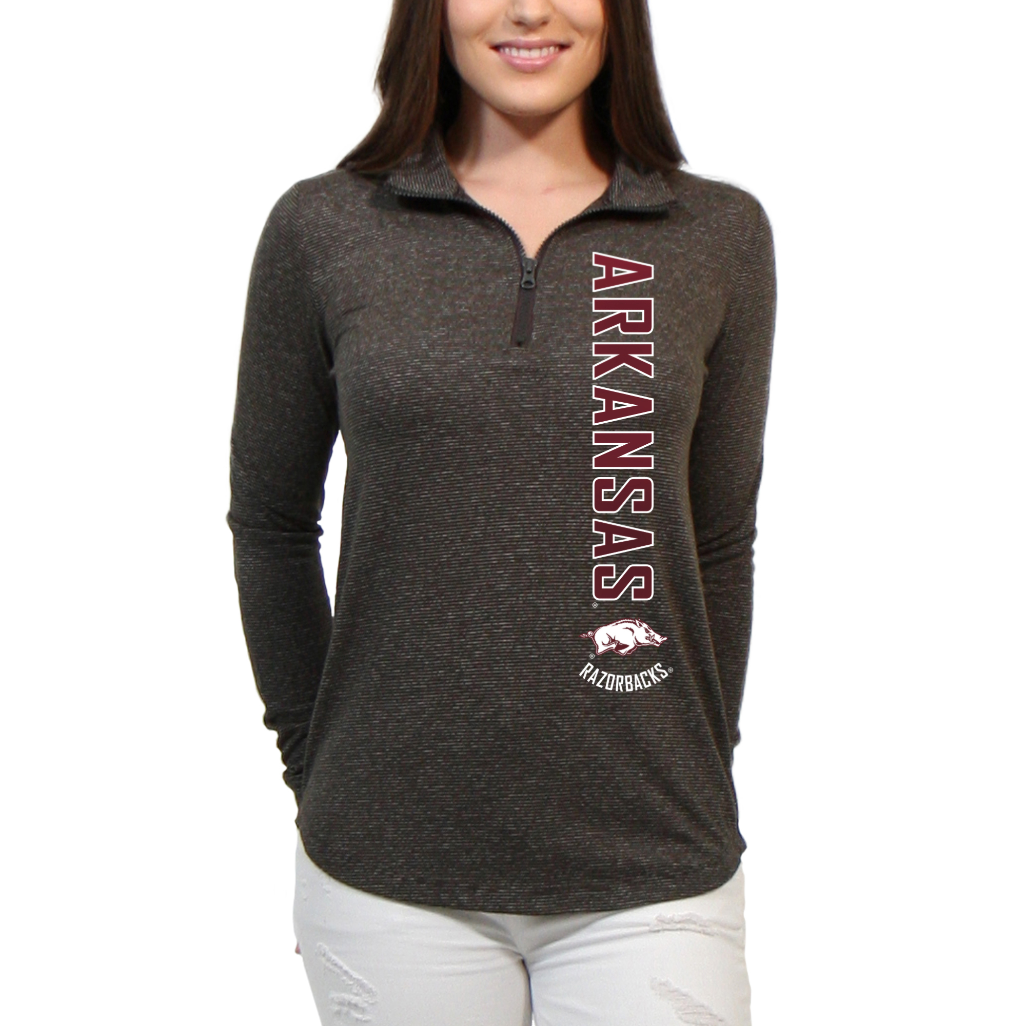 Arkansas Razorbacks Cascade Text Women's/Juniors Team Long Sleeve Half Zip Shirt