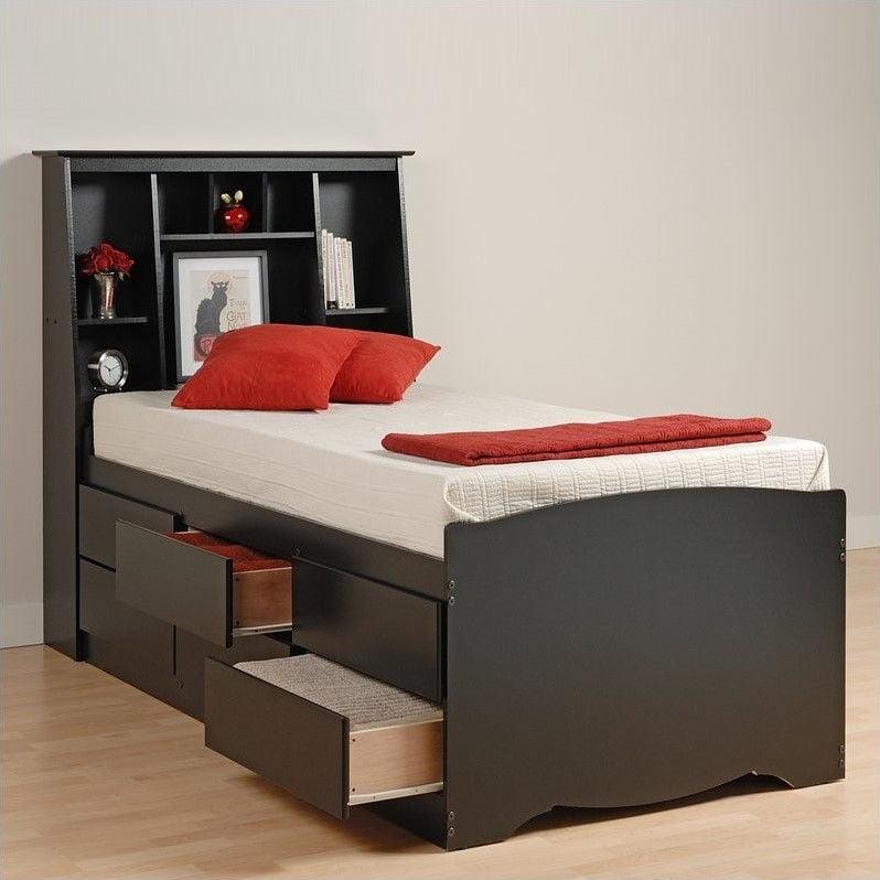 Prepac Black Sonoma Tall Double / Full Bookcase Platform Storage Bed