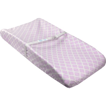 Ben and Noa Fitted Change Pad Sheet with Slits for Safety Straps Flannel, Lilac Lattice ()