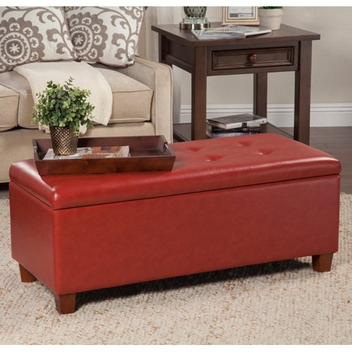 Kinfine USA Large Leatherette Storage Bench Red by HomePop