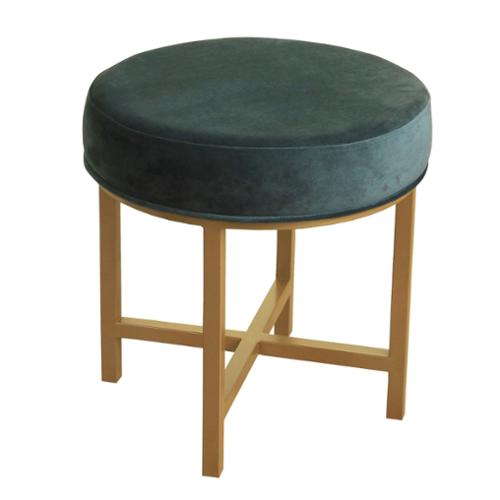 HomePop Round Ottoman with Jasper Velvet and Gold Metal X Base