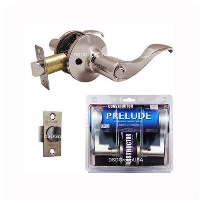 Prelude Privacy Lever Door Lock with Knob Handle Lockset, Satin Nickel Finish