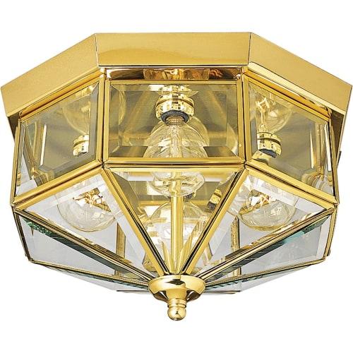 "Progress Lighting P5789 4 Light Flush Mount Outdoor Ceiling Fixture with Beveled Glass Panels - 11"" Wide"
