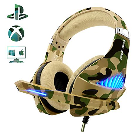 Beexcellent PS4 Gaming Headset?2019 Upgraded? Xbox One PC PS3 Fashionable Deep Bass Headphone with Noise Immunity,