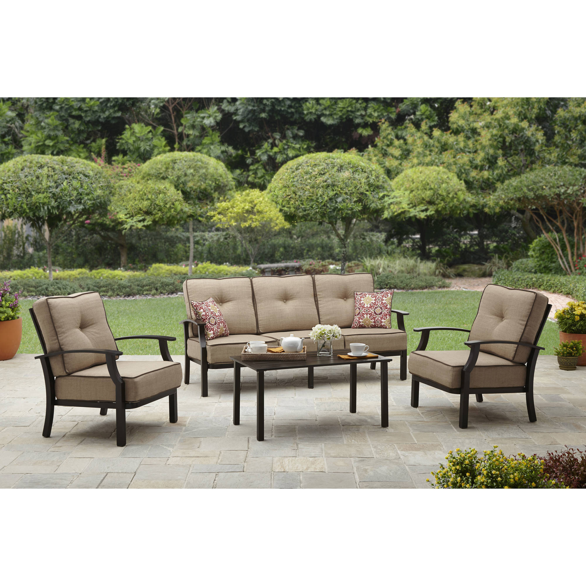 Elegant Mainstays Ragan Meadow II Piece Outdoor Sectional Sofa Seats Walmart