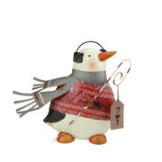 """12"""" Red and Gray Penguin Sweater with Candy Cane Joy Sign Christmas Decoration"""