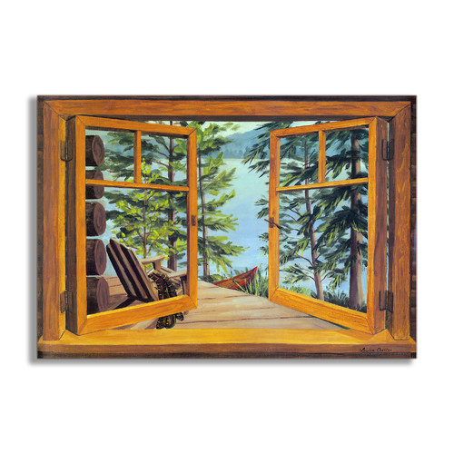 Stupell Industries Cabin and Lake Faux Window Scene Original Painting Plaque