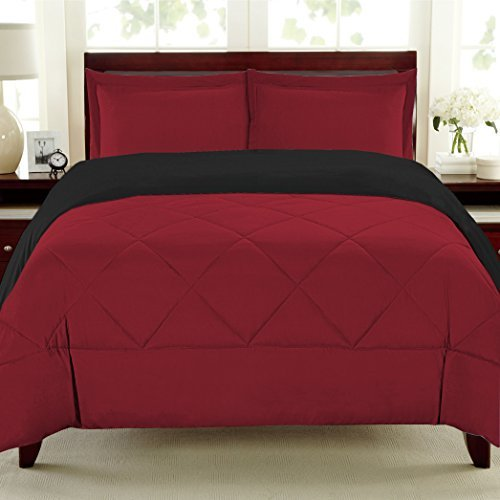 2 Piece Reversible Polyester Microfiber Goose Down Alternative Comforter Set with Pillow Shams, Twin, Burgundy/Black, Machine wash cold with like colors, non-chlorine.., By Sweet Home Collection,USA