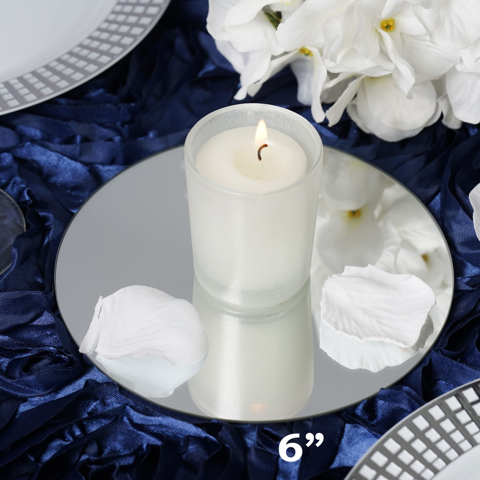 "BalsaCircle 6 pcs x Round 6"" Glass Mirror Wedding Table Decorations - Wedding Party Favors Centerpieces Wholesale Supplies"