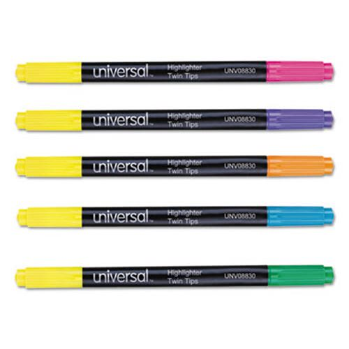 Universal Twin Tip Highlighters, Chisel Tip, Assorted, 10/Set (UNV08830)