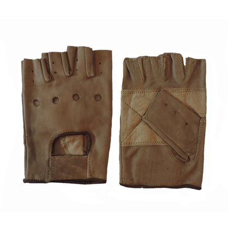 Leather Fingerless Riding Gloves Motorcycle (Light Brown Leather Motorcycle Padded Fingerless Gloves 2XL)