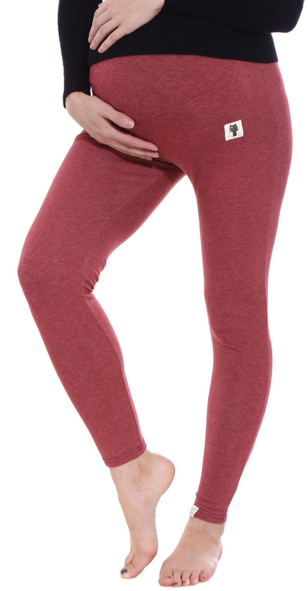 Fit Stretch Over Bump Maternity Pregnancy Leggings, 3025_Burgundy