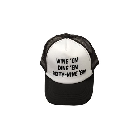 Wine Em Dine Em Sixty-Nine Em Trucker Hat Sea Bass Dumb & Dumber Seabass 69 Cap