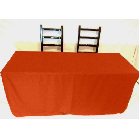 - 5' ft Fitted Polyester Tablecloth SLIT BACK TableCover Trade show Booth 18 COLOR