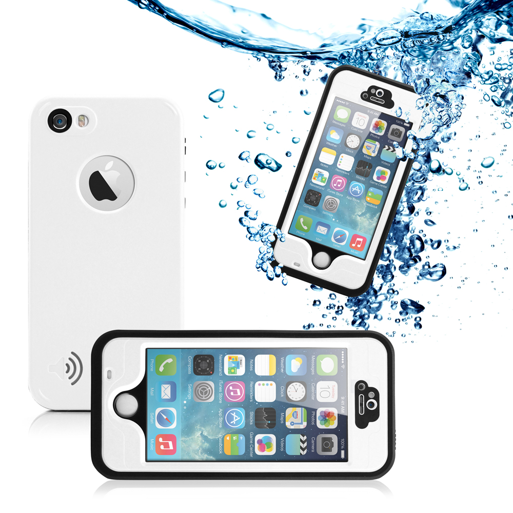 GEARONIC Durable Waterproof Shockproof Snow DirtProof Fingerprint Scanner Full Case Cover for Apple iPhone SE & 5 5S - White