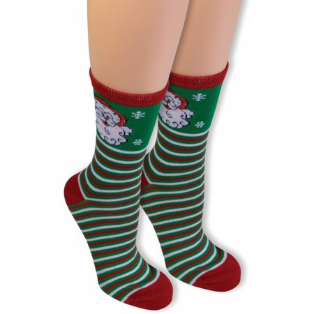 Adult's Santa Claus Merry Christmas Striped Ankle Socks Costume Accessory