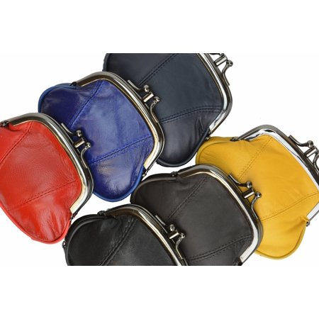 Leather Small Change Purse Double Frame with Zipper Pocket Y022 (C) (Double Zipper Purse)