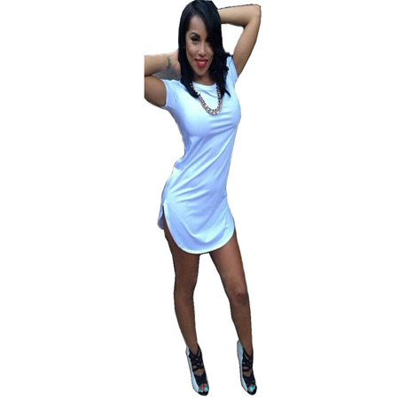 Sexy Women Tops Short Sleeve Side Slit Casual T-shirt nightclub dress Party Mini Dress ()