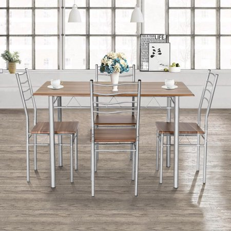 Costway 5 Piece Dining Table Set Wood Metal Kitchen Breakfast Furniture w/4 Chair Walnut ()