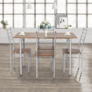 Costway 5 Piece Dining Table Set Wood Metal Kitchen Breakfast Furniture w/4 Chair Walnut