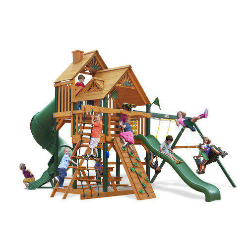 Gorilla Playsets Great Skye I Swing Set with Wood Roof Canopy