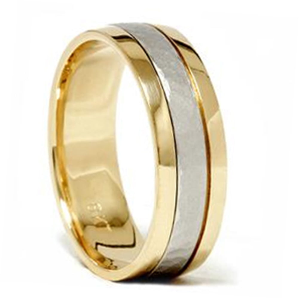 Platinum & 18K Gold Two Tone Hammered Wedding Band Ring by Pompeii3