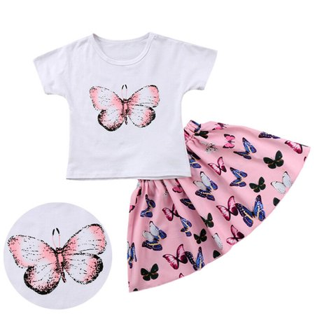 Toddler Girls Summer Dress Clothes Butterfly Print T-shirt+Skirts Outfits Set - Butterflies Clothing