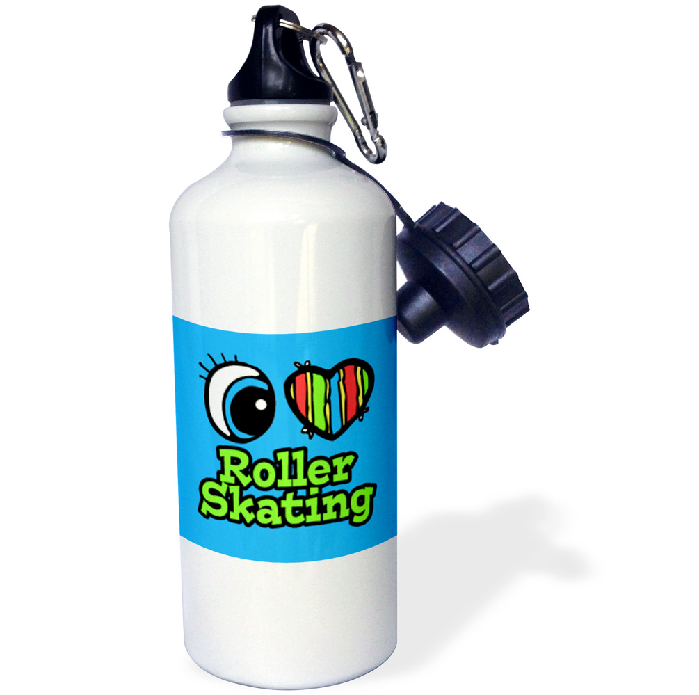 3dRose Bright Eye Heart I Love Roller Skating, Sports Water Bottle, 21oz by 3dRose