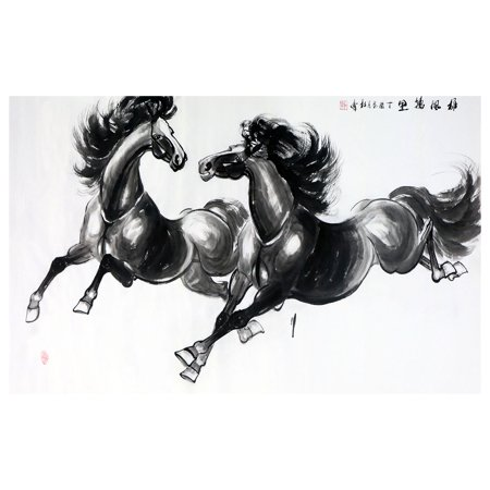 Xiongfeng Wanli Tu Horse Painting Wall Art Artist Handmade Traditional Chinese Painting Cultural Work Home or Office Decor Carefully Package ()